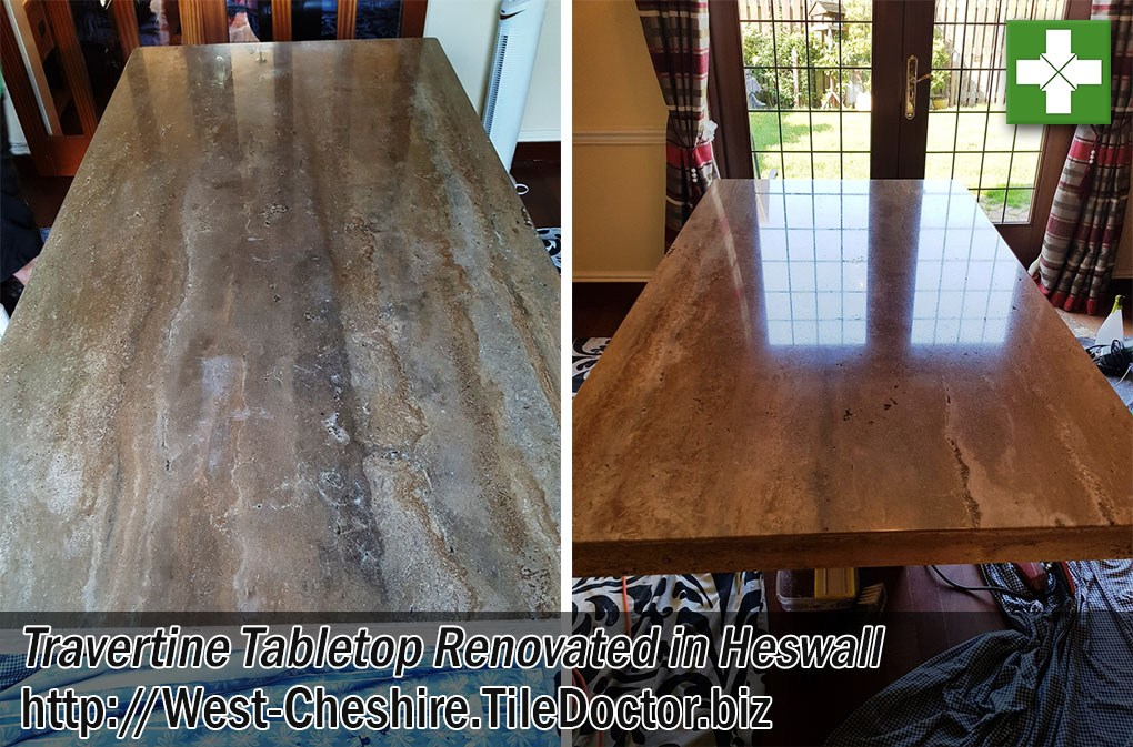 Polishing a Travertine Table Top in Heswall